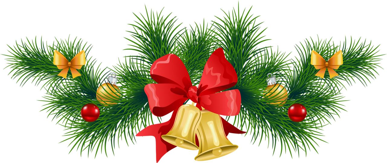 Transparent_Christmas_Pine_Garland_with_Bells_Clipart