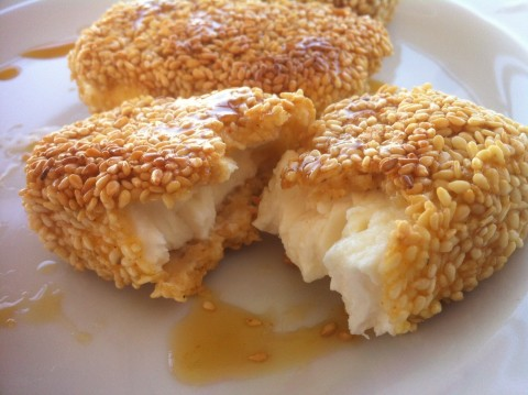 fried-feta-with-honey-and-sesame-seeds-bread-716065724
