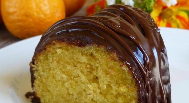 Κέικ Πορτοκαλιού με γλάσο σοκολάτας νηστίσιμο