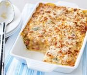 Νιόκι σε κρεμμώδη σάλτσα με μανιτάρια, ζαμπόν & τυριά στο φούρνο