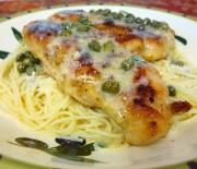 Κοτόπουλο με λεμονάτη, βουτυράτη σάλτσα κάπαρης με σπαγγέτι