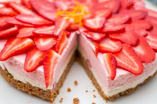 Cheesecake φράουλας χωρίς ψήσιμο