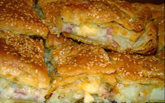 Πίτα με πατάτες, τυριά, μπέϊκον & ζαμπόν