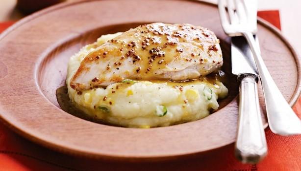 Κοτόπουλο με σάλτσα μουστάρδας-μελιού και πουρέ με λαχανικά