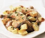 Κοτόπουλο με πατάτες και σάλτσα κρασιού μουστάρδας