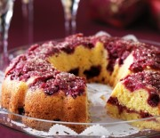 Αναποδογυριστό Κέικ πορτοκαλιού με raspberries