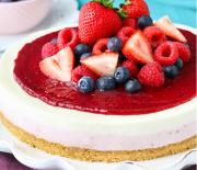 Cheesecake βανίλιας με βατόμουρα χωρίς ψήσιμο