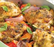 Κοτόπουλο με πέστο και ψητά λαχανικά στο φούρνο