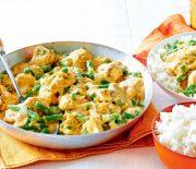 Κοτόπουλο με λαχανικά σε σάλτσα μελιού και μουστάρδας με ρύζι