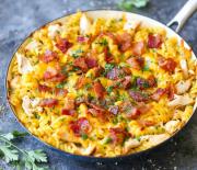 Βίδες με κοτόπουλο, μπέικον και τυρί στο τηγάνι