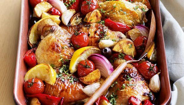 Κοτόπουλο λεμονάτο με λαχανικά στο φούρνοο