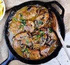 Χοιρινό φιλέτο με μουστάρδα, μανιτάρια και βουτυράτες ταλιατέλες
