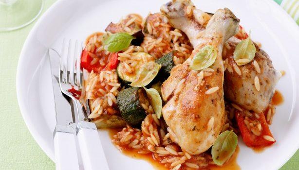 Μπουτάκια κοτόπουλου με μπριάμ και κριθαράκι