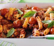 Ριγκατόνι με κιμά, ντοματίνια και τυρί στο φούρνο