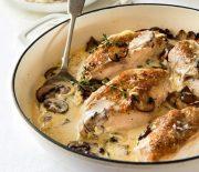 Κοτόπουλο με μανιτάρια σε κρεμώδη σάλτσα
