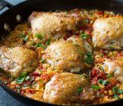 Κοτόπουλο με κριθαράκι στο τηγάνι