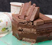 Σοκολατένια τούρτα ψυγείου με γκοφρέτες 3Bit, με 3 υλικά