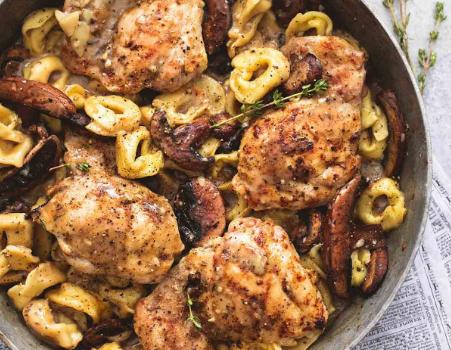 Κοτόπουλο Μαρσάλα με τορτελίνια και μανιτάρια