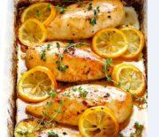Στήθος κοτόπουλου λεμονάτο στο φούρνο