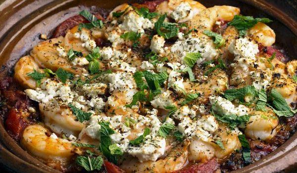Γαρίδες σαγανάκι στο φούρνο