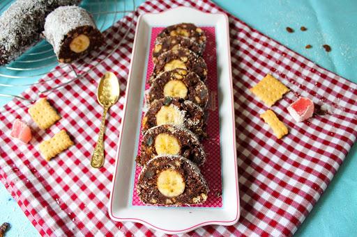 Μωσαϊκό σοκολάτας ψυγείου με μπανάνα