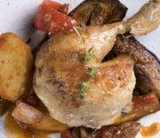 Κοτόπουλο με μελιτζάνες κολοκύθια και πατάτες στο φούρνο