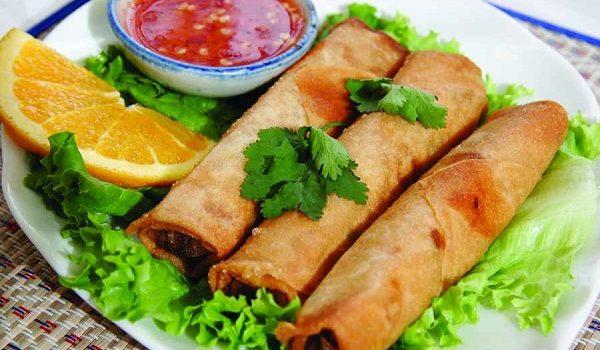 Σπρινγκ ρολς (Srping Rolls) λαχανικών με σάλτσα bbq