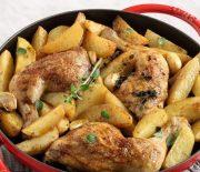 Μπουτάκια κοτόπουλου με πατάτες στο φούρνο