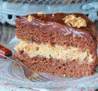 Κέικ γεμιστό με κρέμα και επικάλυψη σοκολάτας