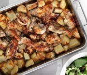 Παϊδάκια κοτόπουλου με πατατούλες στο φούρνο