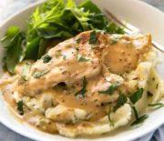 Κοτόπουλο σε σάλτσα μελιού και μουστάρδας με πουρέ