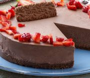 Cheesecake σοκολάτας με μπισκότα Μιράντα με κακάο και σοκολάτα