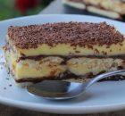 Μπισκοτογλυκό ψυγείου με κρέμα βανίλιας, σοκολάτα και μπισκότα (Video)