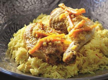 Κοτόπουλο λεμονάτο με σαφράν και πιλάφι