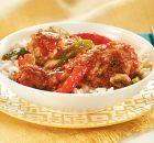 Κοτόπουλο με λαχανικά με σάλτσα ντομάτας