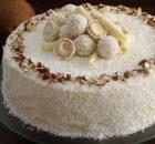 Κέικ αμυγδάλου καρύδας με κρέμα λευκής σοκολάτας και μασκαρπόνε (Video)