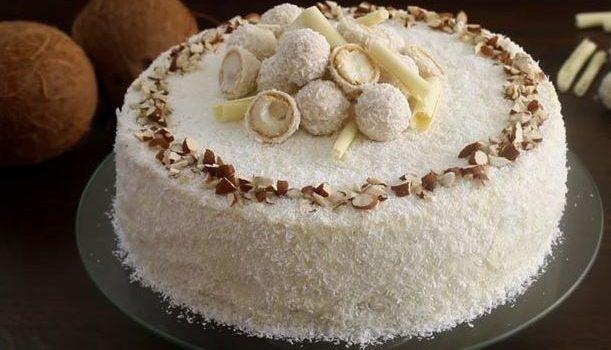 Κέικ Raffaello αμυγδάλου καρύδας με κρέμα λευκής σοκολάτας και μασκαρπόνε (Video)