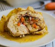 Ρολό κοτόπουλο γεμιστό με πατάτες στο φούρνο