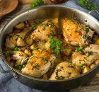 Κοτόπουλο με λεμονάτο αρακά και πατάτες