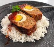 Ρολό κιμά αφράτο με αυγό και γλυκόξινη σάλτσα BBQ