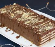 Σοκολατένιο μπισκοτογλυκό ψυγείου χωρίς ζάχαρη με 4 υλικά (Video)