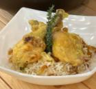 Κοτόπουλο με μέλι και σάλτσα μουστάρδας με ρύζι πιλάφι